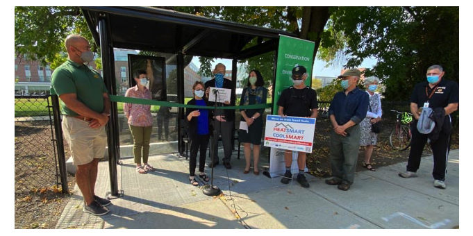 GN bus shelter ribbon cutting ceremony